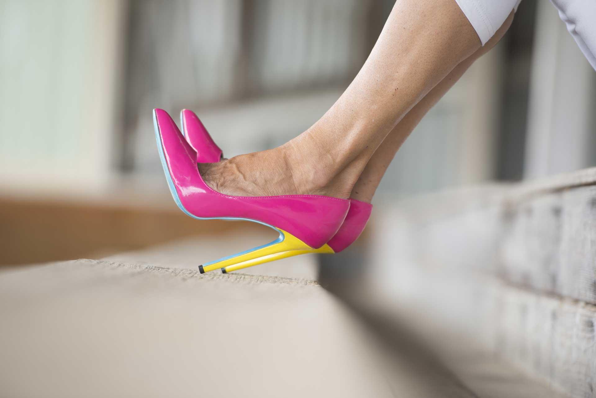 5 reason not to wear high heels image of vivid colored heels