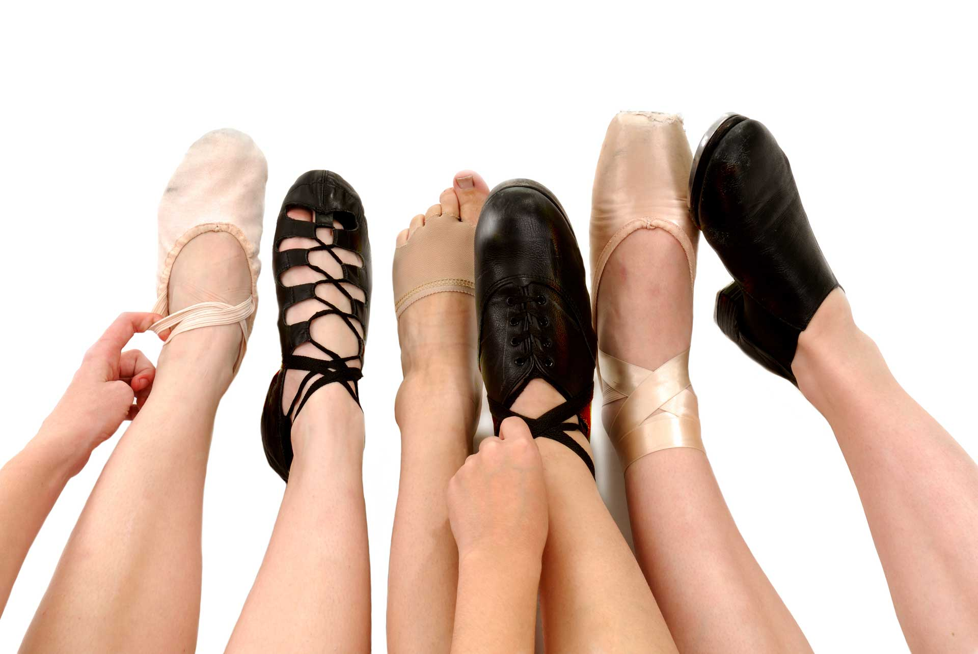 Image of variety of dancers feet and shoes - Podiatric sports medicine in Sterling VA
