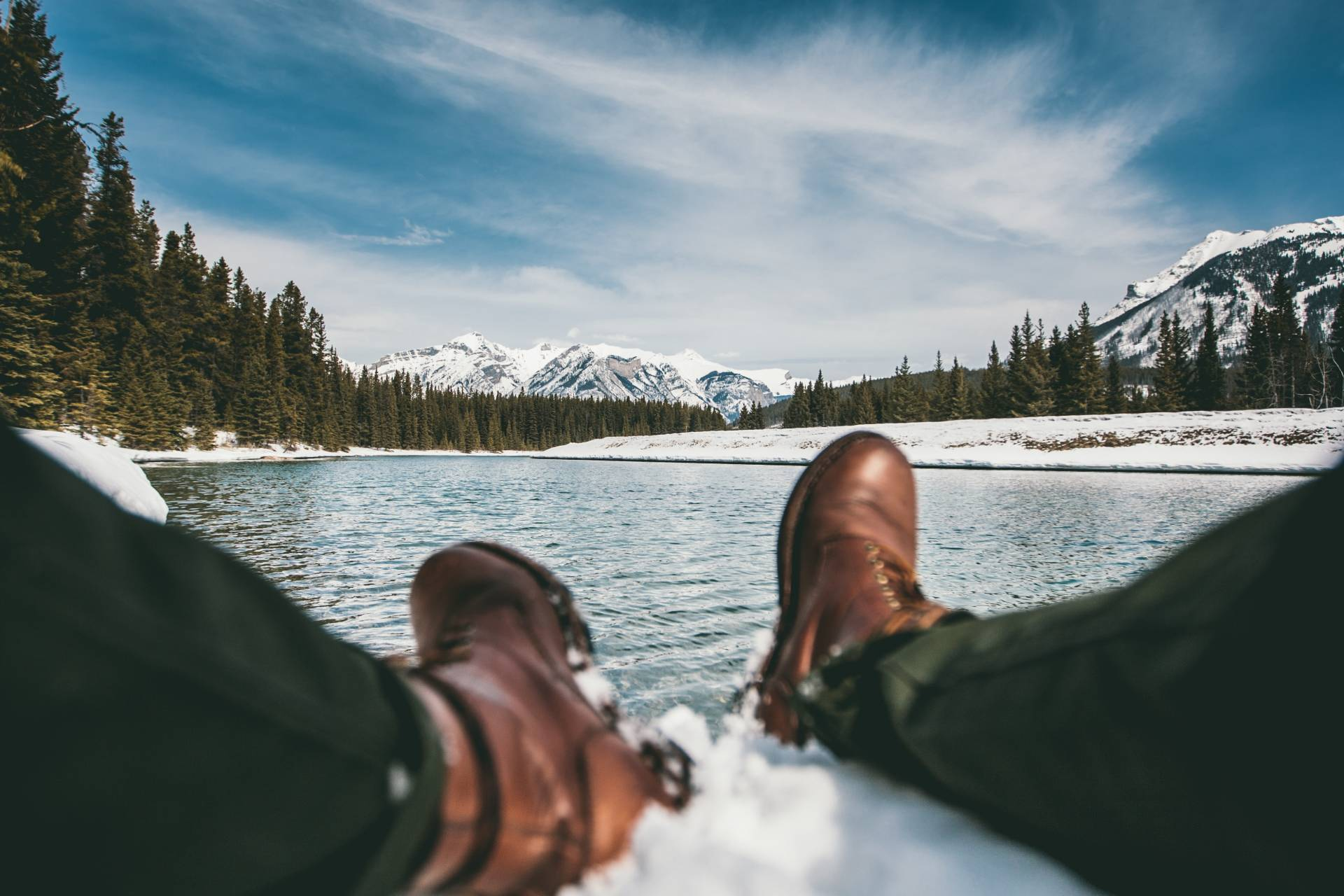 Image of hiker with boot in snow